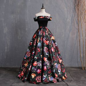 Vintage / Retro Multi-Colors Printing Prom Dresses 2019 Ball Gown Off-The-Shoulder Bow Short Sleeve Backless Floor-Length / Long Formal Dresses
