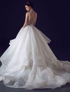 2016 Sexiga Balklänning V-ringad Paljetter Backless Cascading Volanger Bröllopsklänning