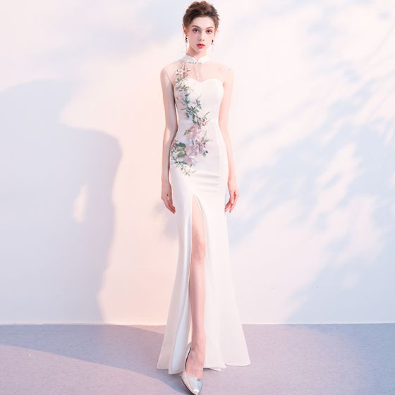 Chinese style Ivory See-through Evening Dresses  2018 Trumpet / Mermaid High Neck Sleeveless Embroidered Split Front Floor-Length / Long Ruffle Formal Dresses