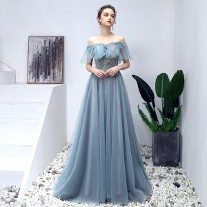 Elegante Blau Ballkleider 2019 A Linie Off Shoulder Perlenstickerei Perle Spitze Blumen Kurze Ärmel Rückenfreies Lange Festliche Kleider