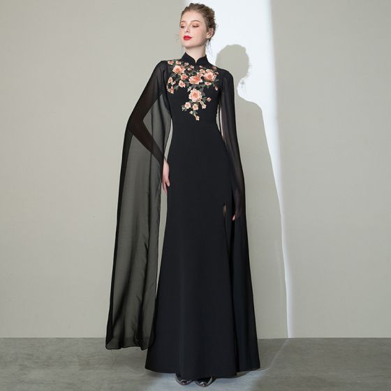 Style Chinois Noire Cheongsam Robe De Soirée 2020 Trompette / Sirène Col Haut Manches Longues Appliques Brodé Fendue devant Longue Robe De Ceremonie