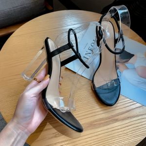 Sexy Svart Gateklær Sandaler Dame 2020 Ankelstropp 9 cm Tykk Hæler Peep Toe Sandaler