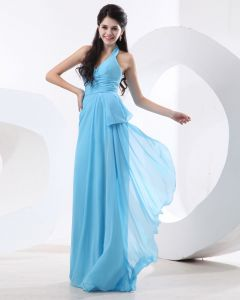 Stylish Halter Chiffon Floor Length Cheap Evening Dresses