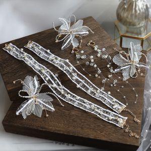 Eleganta Elfenben Örhängen Halsband Pannband Brudsmycken 2020 Legering siden Blomma Pärla Rhinestone Kristall Hårsmycken Brud Huvudbonad