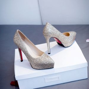 Glitter Champagne Bruidsmeisjes Huwelijk Pumps 2020 Pailletten 12 cm Naaldhakken / Stiletto Spitse Neus Bruidsschoenen