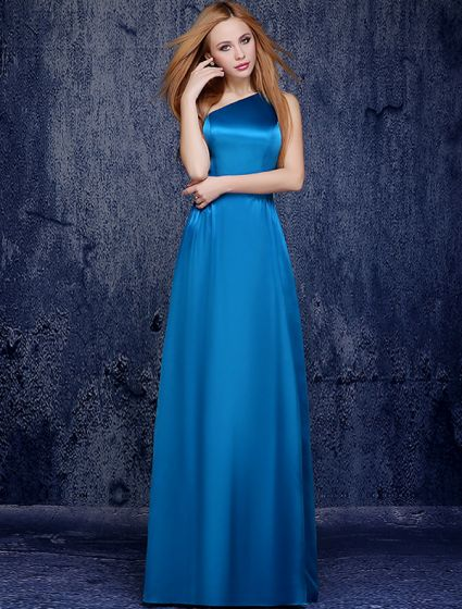 Simple One-shoulder Floor-length Ocean Blue Silk Bridesmaid Dress