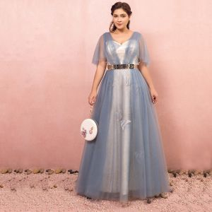 Sparkly Bling Bling Sky Blue Plus Size Evening Dresses  2018 A-Line / Princess Tulle V-Neck Backless Beading Rhinestone Evening Party Prom Dresses