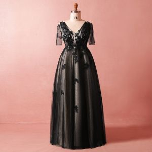 Chic / Beautiful Black Plus Size Evening Dresses  2018 A-Line / Princess 1/2 Sleeves V-Neck Tulle Lace Crossed Straps Appliques Backless Beading Summer Evening Party Formal Dresses
