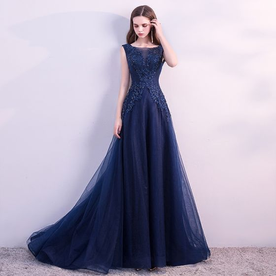 Chic / Beautiful Navy Blue Evening Dresses  2018 A-Line / Princess Lace Flower Beading Crystal Sequins Scoop Neck Backless Sleeveless Sweep Train Formal Dresses