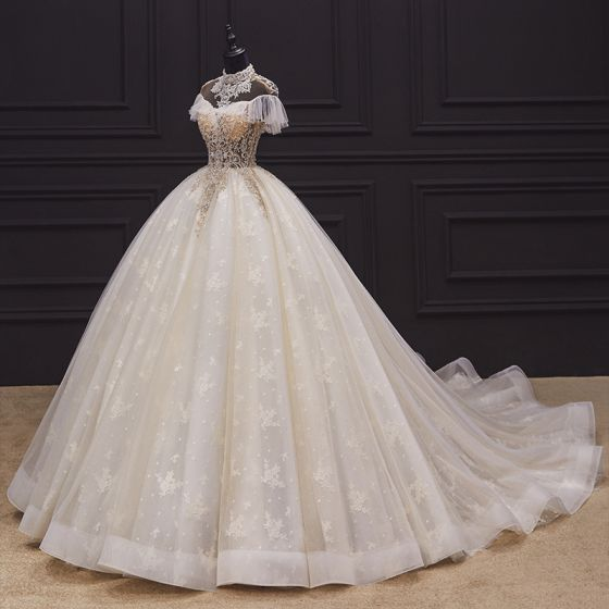 Luxury / Gorgeous Champagne Bridal Wedding Dresses 2020 Ball Gown See-through High Neck Short Sleeve Backless Appliques Lace Handmade Beading Chapel Train Ruffle
