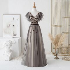 Chic / Beautiful Black Evening Dresses  2019 A-Line / Princess V-Neck Beading Crystal Appliques Short Sleeve Backless Bow Floor-Length / Long Formal Dresses