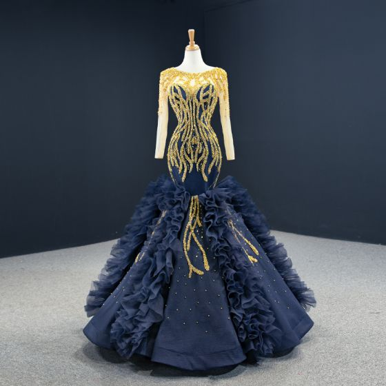 Luxury / Gorgeous Navy Blue Red Carpet Evening Dresses  2020 Ball Gown See-through Scoop Neck Long Sleeve Handmade  Beading Floor-Length / Long Backless Formal Dresses
