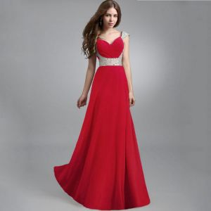 Elegant Red Chiffon Maxi Dresses 2018 Empire Shoulders Sleeveless Sequins Floor-Length / Long Ruffle Backless Womens Clothing
