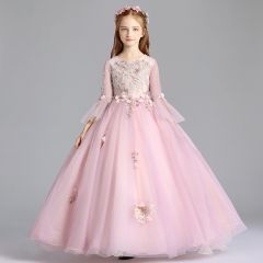Elegant Blushing Pink Flower Girl Dresses 2019 A-Line / Princess Scoop Neck Bell sleeves Appliques Lace Rhinestone Pearl Floor-Length / Long Ruffle Wedding Party Dresses