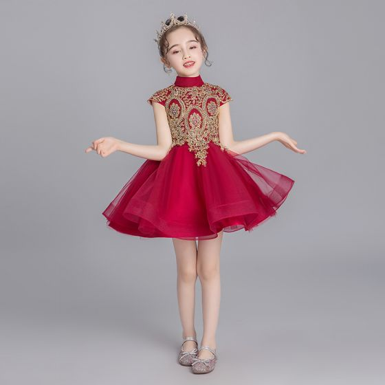 Chinese style Burgundy Flower Girl Dresses 2019 Ball Gown High Neck Cap Sleeves Appliques Lace Rhinestone Short Ruffle Wedding Party Dresses