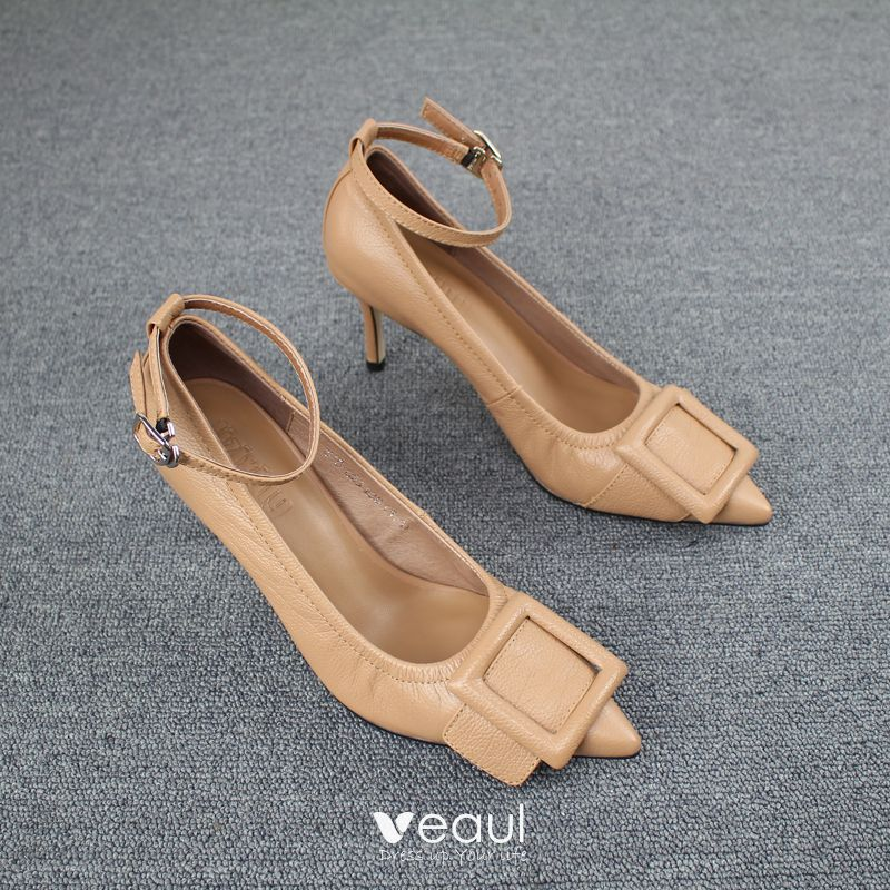 Details about New Women Pointy Closed Toe Wide Buckle Ankle Strap Pump Shoe Stiletto High Heel