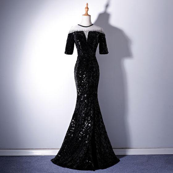 Piękne Czarne Sukienki Wieczorowe 2019 Syrena / Rozkloszowane Wycięciem Koronkowe Frezowanie Cekiny 1/2 Rękawy Długie Sukienki Wizytowe