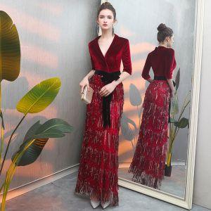 Modern / Fashion Burgundy Suede Evening Dresses  2019 Trumpet / Mermaid Deep V-Neck 3/4 Sleeve Sash Beading Tassel Floor-Length / Long Ruffle Casual Formal Dresses