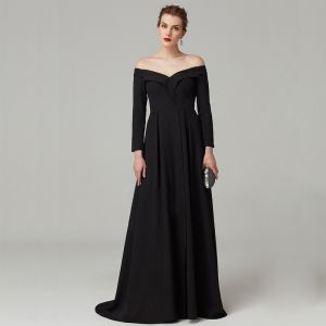 Modest / Simple Empire Black Evening Dresses  2020 Long Sleeve Off-The-Shoulder Satin Backless Sweep Train Evening Party Formal Dresses