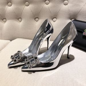 Chic / Beautiful Silver Evening Party Pumps 2019 Patent Leather Rhinestone 10 cm Stiletto Heels Pointed Toe Pumps