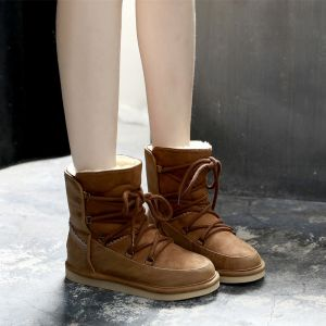 Modern / Fashion Snow Boots 2017 Brown PU Ankle Lace-up Casual Winter Flat Womens Boots