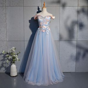 Chic / Beautiful Sky Blue Prom Dresses 2019 A-Line / Princess Appliques Lace Sash Off-The-Shoulder Backless Short Sleeve Floor-Length / Long Formal Dresses