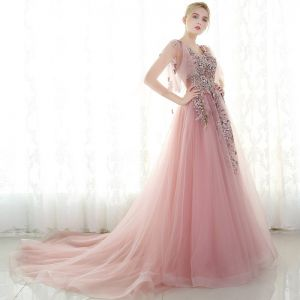 Chic / Beautiful Evening Dresses  2017 Candy Pink A-Line / Princess Chapel Train V-Neck 1/2 Sleeves Lace Appliques Flower Pearl Rhinestone Formal Dresses
