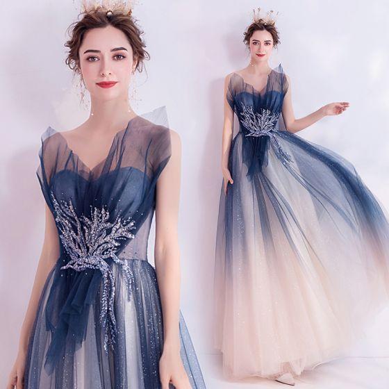 Uroczy Granatowe Sukienki Wieczorowe 2020 Princessa Bez Ramiączek Frezowanie Cekiny Z Koronki Kwiat Bez Rękawów Bez Pleców Długie Sukienki Wizytowe
