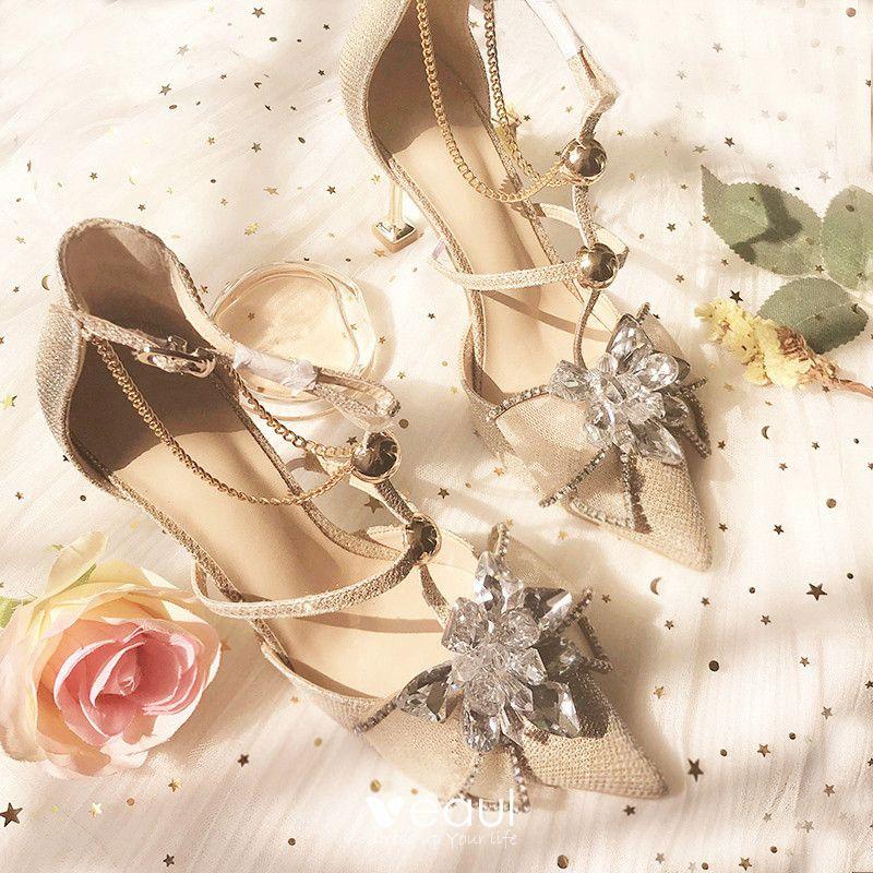 Modern / Fashion Champagne Wedding Bridesmaid High Heels 2019 T-Strap Rhinestone 8 cm Stiletto Heels Pointed Toe Wedding Shoes
