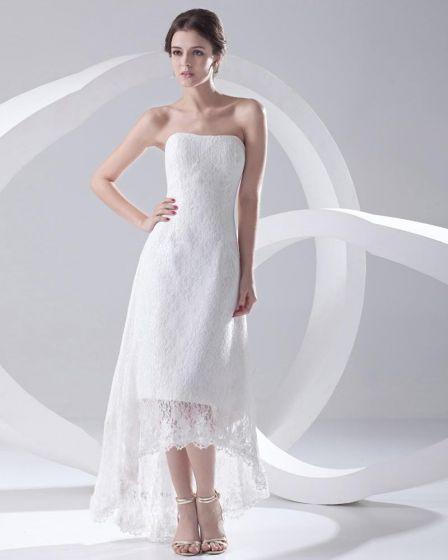 Satin Lace Strapless Backless Floor Length Asymmetrical High Low Mini Wedding Dress