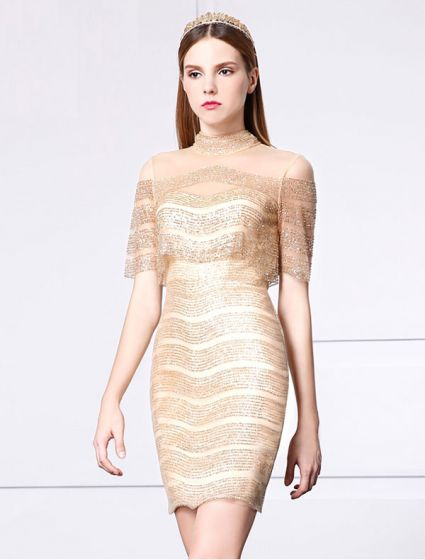 Beautiful Gold Glitter Tail Dress Short Party 2017