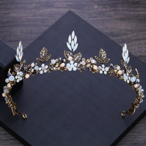 Vintage / Retro Baroque Bronze Tiara 2018 Metal Crystal Rhinestone Accessories
