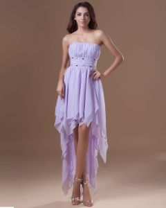 Chiffon Ruffle Beading Strapless Pleated Asymmetrical Length High Low Women Cocktail Dress