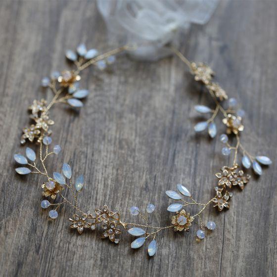 Vintage / Retro Gold Headbands Bridal Hair Accessories 2020 Metal Lace-up Rhinestone Flower Bridal Headpieces Accessories