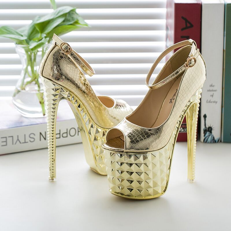 Chic / Beautiful 2017 15 cm / 6 inch Gold Silver Cocktail Party PU High Heels Stiletto Heels Pumps