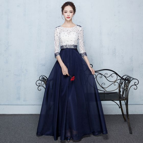 Elegant Navy Blue Formal Dresses 2017 A-Line / Princess Lace Flower Beading Sequins 3/4 Sleeve Scoop Neck Ankle Length Prom Dresses