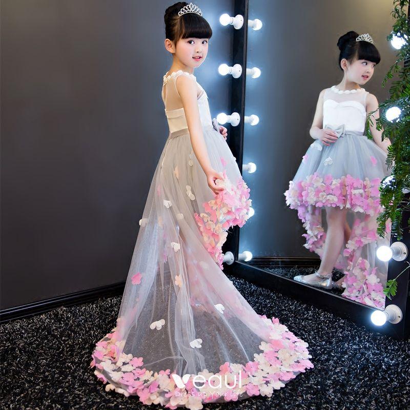 Hermoso Gris Transparentes Vestidos Para Niñas 2018 A Line Princess Rebordear Perla Scoop Escote Sin Mangas Apliques Flor Bowknot Cinturón