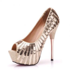 Sexy Gold Evening Party Womens Shoes 2018 Sequins 14 cm Stiletto Heels Open / Peep Toe High Heels