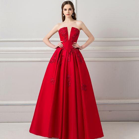 Elegantes Borgoña Vestidos De Gala 2018 A Line Princess V Cuello Sin Mangas Apliques Con Encaje Rebordear La Altura Del Tobillo Ruffle Sin Espalda