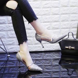 Scintillantes Argenté Chaussures Femmes 2018 Noeud Paillettes 7 cm Talons Aiguilles À Bout Pointu Escarpins