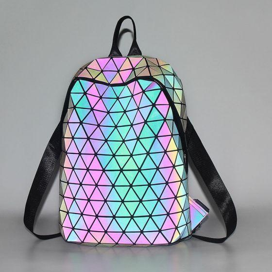Løjnefaldende Multi-Farver Lysende Geometrisk Rygsække 2021 PU Reflekterende Holografisk Streetwear Dametasker