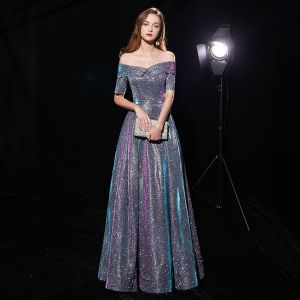 Bling Bling Multi-Colors Evening Dresses  2019 A-Line / Princess Off-The-Shoulder 1/2 Sleeves Glitter Polyester Floor-Length / Long Ruffle Backless Formal Dresses