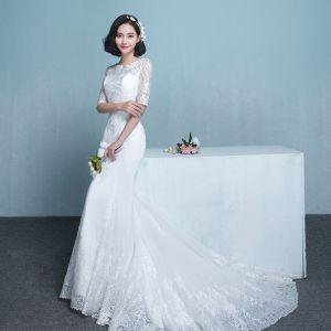 Modest / Simple Wedding Dresses 2017 White Trumpet / Mermaid Chapel Train Scoop Neck 1/2 Sleeves Lace Appliques
