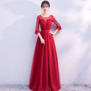 Chic / Beautiful Burgundy Evening Dresses  2017 A-Line / Princess Lace Flower Backless Scoop Neck Long Sleeve Floor-Length / Long Formal Dresses