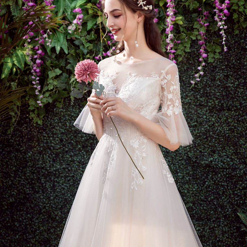 Affordable Champagne Outdoor / Garden See-through Wedding Dresses 2019 A-Line / Princess Scoop Neck Bell sleeves Backless Appliques Lace Sequins Sweep Train Ruffle