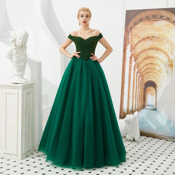 Best Dark Green Prom Dresses 2019 A-Line / Princess Off-The-Shoulder Short Sleeve Beading Floor-Length / Long Ruffle Backless Formal Dresses