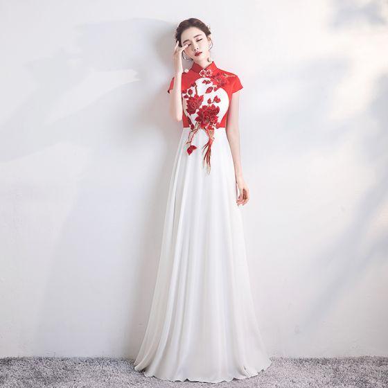 Style Chinois Rouge Blanche Chiffon Cheongsam 2020 Princesse Col Haut Mancherons Appliques Brodé Longue Robe De Ceremonie