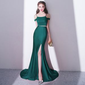 Modern / Fashion Charming 2 Piece Dark Green Court Train Evening Dresses  2018 Trumpet / Mermaid Spaghetti Straps Evening Party Formal Dresses