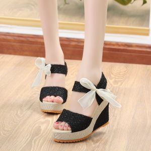 Chic / Beautiful Black Casual Womens Sandals 2020 Sequins Bow 10 cm Wedges Platform Open / Peep Toe Sandals