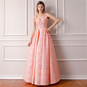 Mode Pearl Rosa Ballkleider 2019 A Linie Ärmellos Schultern Blumen Strass Lange Rüschen Rückenfreies Festliche Kleider